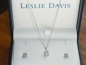 LESLIE DAVIS (Ernest Jones) 9ct white gold diamond pendant necklace and earrings