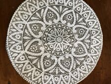Pair Of Taupe/White Round Mandala Boho Placemats Table Decor Cotton/Poly