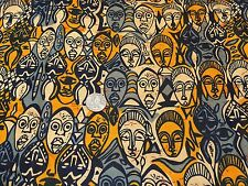 Fabric African Free Trade Tribal Masks Gray & Mustard Cream Cotton 1/4 yard