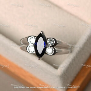 3Ct Marquise Cut Blue Sapphire Solitaire Engagement Ring 14K White Gold Finish