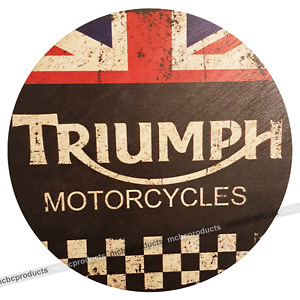 TRIUMPH MOTORCYCLES Wood Signs Retro Vintage Round Wooden Circle Mancave Sign UK