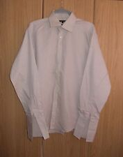 MENS ASDA GEORGE LONG-SLEEVED FORMAL SHIRT - DOUBLE CUFFS - EASY TO IRON -  NEW