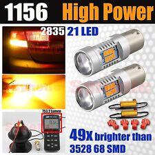 1156 High Power 50W 750LM LED Amber Yellow Turn Signal Light Bulbs +Resistors