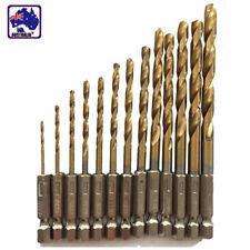 HSS 1.5-6.5mm 13pcs Hex Shank Drill Bit Set Quick Change Titanium  TDRI02413