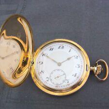 alte Sprungdeckel Taschenuhr 585/- Gold 3 Deckel Levrette um 1890