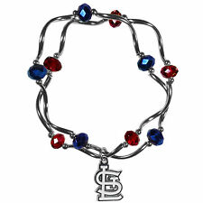 MLB St Louis Cardinals Crystal Bead Bracelet Gameday Charms Team Stretch Jewelry