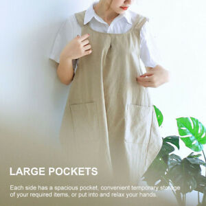 Women Kitchen Apron Cross Back With Pockets Home Simple Cotton Linen For Cooking