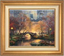 """Thomas Kinkade Central Park In the Fall 20"""" x 24"""" LE S/N Canvas (Gold Frame)"""