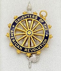 DAR Daughters of American Revolution Pin Pendant Caldwell Gold Filled