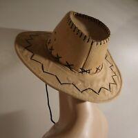 Chapeau beige noir fait main femme homme art déco accessoire vintage N4670