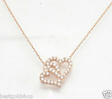 Technibond Double Heart CZ Pendant 14K Rose Pink Gold Clad Silver Cable Chain