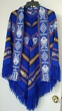 Mexican Aztec Blanket Blue Black Fringe Poncho Pullover One Size