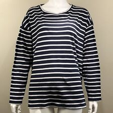 J JILL Sweater Size 1X Navy Blue Off White Striped Pullover