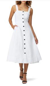 Kate Spade Womens White Sleeveless Button Front Midi Dress Sz UK 8 rrp £250