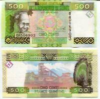 GUINEA 500 FRANCS 2015 P 47 NEW DESIGN UNC LOT 5 PCS