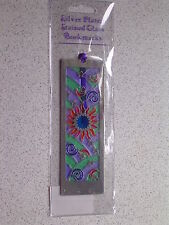 SUN MOON & STARS@BOOKMARK@Stained Glass~SILVER Plated@SKY@astrologers gift@SOLAR