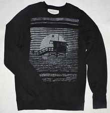 Men's American Eagle Sweatshirt Large L Black Athletic Fit Lifeguard Stand Beach