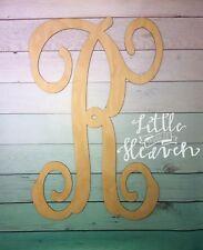 """18"""" Wooden Interlocking Vine Letter Unfinished Wood Room Decor Custom Letter"""