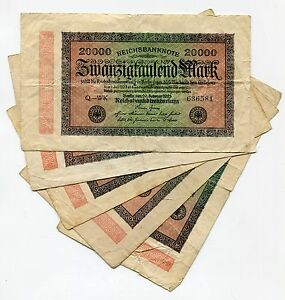 German Antique 1923 Banknote 20 000 Mark Reichsbanknote Paper Money X 5 Note Lot