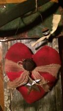 """Primitive Valentines Plump Fabric Heart Rusty Bell Wall Tuck Bowl Filler 6"""""""