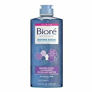 Bioré Baking Soda Cleansing Micellar Water, 13.5 Ounce, All-In-One Cleanser...