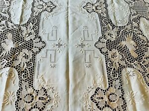 VINTAGE BEIGE-TAN, POINT DE VENISE LACE TABLECLOTH  FROM ITALY