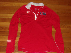 NIKE DRI-FIT USA 1/2 ZIP LONG SLEEVE RED PULLOVER JERSEY WOMENS MEDIUM EXCELLENT