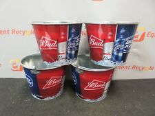 Bud Light Budweiser Beer Bucket Bar Party Pail Man Cave Lot of 4 New
