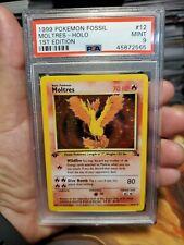 PSA 9 MINT - 1st Edition Moltres - 12/62 (Fossil) Holo Rare Pokemon Card