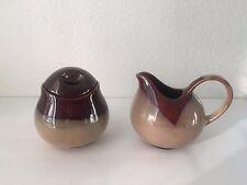 3 pc Sango Nova Brown Stoneware Pottery Sugar Bowl w/ Lid & Creamer Serving Set