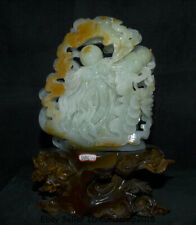 "18"" China Natural Green Xiu Jade Carving Feng Shui longevity God Shouxing Statue"