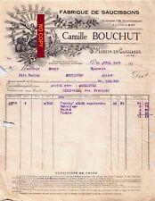 Beau Document du 24/04/1935 C. BOUCHUT Saucissons - St-Martin-en-Coaileux 42