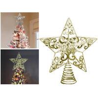 KE_ Gold Christmas Tree Topper Gold Star Decoration Xmas Tree Top Ornament Orn