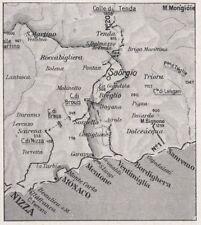 D3642 France - Saorgio e dintorni - Mappa geografica d'epoca - 1940 old map
