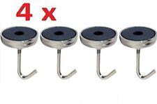 4 Piece Pack Rust Proof Zinc Plated Heavy Duty Magnetic Hook Key Storage Set