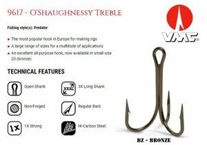 VMC 9617BZ - O'Shaughnessy Treble Hooks (100pcs) BZ - Bronze