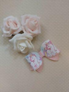 Unicorn Hair Bow Clip Pink glitter 3 inch
