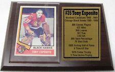Chicago Black Hawks Tony Esposito 1974 Topps Hockey Card Plaque