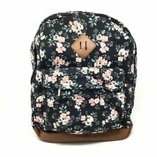 Wild Fable Womens Canvas Backpack Black Coral Floral Zipper Multi Pockets L New