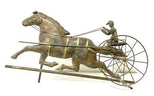 "Antique Large 33""Copper Sulky Jockey Horse Carriage Buggy Weathervane"