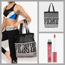 Victoria's Secret PINK 2018 Mesh Canvas Tote Bag & FREE Bitten Lip Gloss ~ NWT