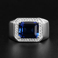 18k White Gold Plated Adjustable Band Blue Sapphire Men's Wedding Ring R107