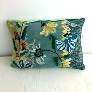 """12x18"""" Anthropologie Embroidered Floral Decorative Throw Pillow Linen Boho Blue"""