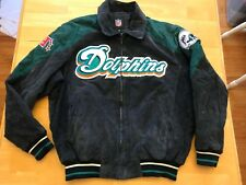 RARE Miami Dolphins Vintage Official G-III Suede Leather Jacket Mens L  Large GUC ea5da511e