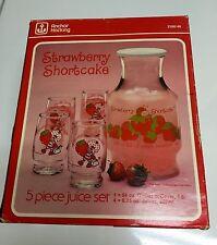 Vintage Strawberry Shortcake Anchor Hocking 5-Piece Juice Set In Box 1980