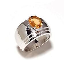 Natural Citrine Gemstone 18K White Gold Men's Ring SR783