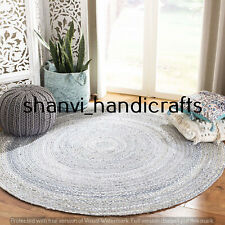 Hand Braided 6 Feet Cotton Rugs Bohemian Area Dhurrie Modern Floor Rag Round Rug