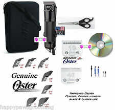 OSTER GOLDEN A5 Clipper KIT-CryogenX 10,40 Blade,Case,DVD,Shears,GUIDE COMB Set