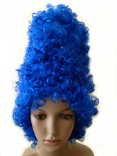 Halloween Cartoon Bleu Marge Simpson Beehive Curly Wig Fancy Dress Costume