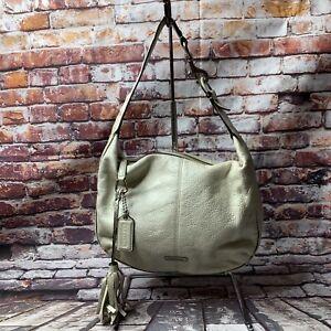 COACH F23960 Medium White Pebble Leather Hobo Purse Shoulder Handbag
